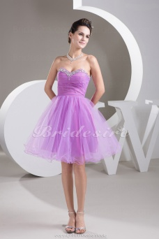 A-line Sweetheart Short/Mini Sleeveless Organza Dress