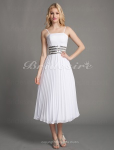 Sheath/ Column Chiffon Tea-length Spaghetti Straps Wedding Dress