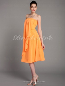 Sheath/ Column Chiffon Over Elastic Satin Knee-length Strapless Bridesmaid/ Wedding Party Dress
