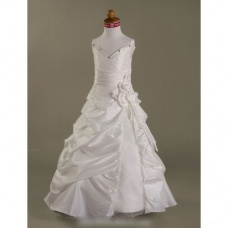Ball Gown Spaghetti Straps Floor-length Taffeta Organza Flower Girl Dresses / First Communion Dresses