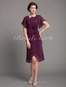 Sheath/Column Chiffon Square Knee-length Short Sleeve Cocktail Dress