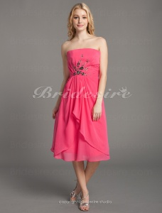 A-line Knee-length Strapless Elastic Woven Satin Chiffon Wedding Party Dress