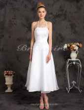 A-line Organza Tea-length Halter Wedding Dress with Beaded Appliques