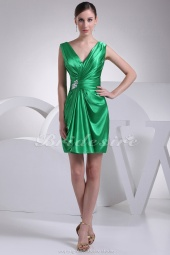 Sheath/Column V-neck Short/Mini Sleeveless Stretch Satin Dress