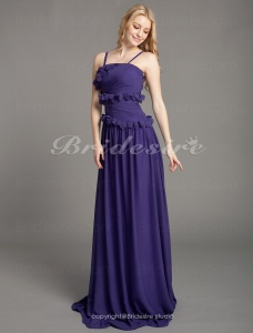 Sheath/ Column Chiffon Floor-length Spaghetti Straps Bridesmaid Dress