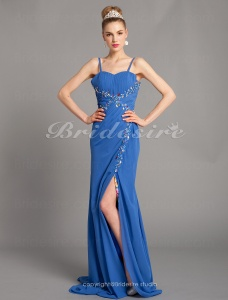 Trumpet/Mermaid Dreamlike Spaghetti Straps Sweetheart Sweep/Brush Train Floor-length Chiffon Evening Dresses