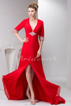 A-line V-neck Court Train Half Sleeve Chiffon Dress