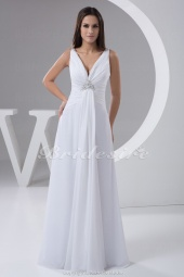 Sheath/Column V-neck Floor-length Sleeveless Chiffon Wedding Dress