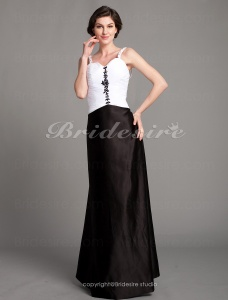 A-line Stretch Satin Floor-length Spaghetti Straps Evening Dress