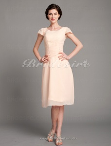 Sheath/ Column Chiffon Knee-length ScoopMother of the Bride Dress