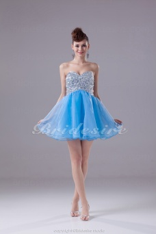 A-line Sweetheart Short/Mini Sleeveless Tulle Dress
