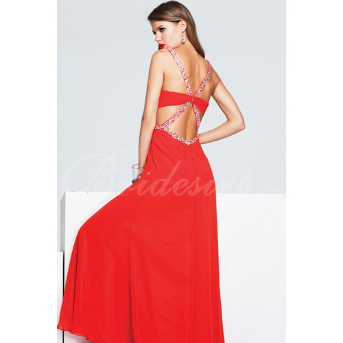 A-line Spaghetti Straps Sleeveless Floor-length Chiffon Evening