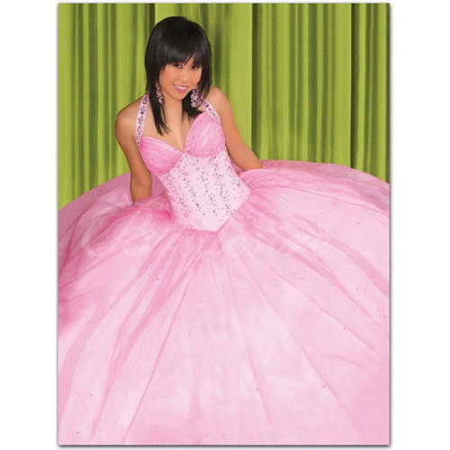 Ball Gown Halter Sleeveless Floor-length Taffeta Organza Prom Dr