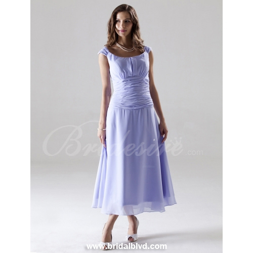 A-line Off-the-shoulder Tea-length Capped Chiffon Over Mading Br
