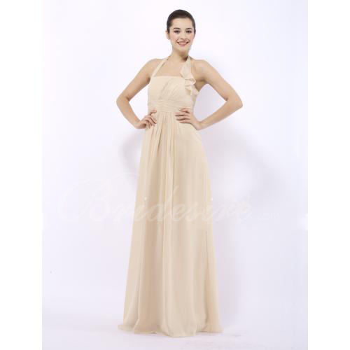 2014 Style Empire Halter Floor-length Chiffon Over Elastic Satin