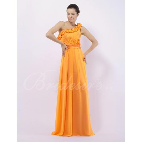A-line One Shoulder Floor-Length Chiffon Over Elastic Satin Brid