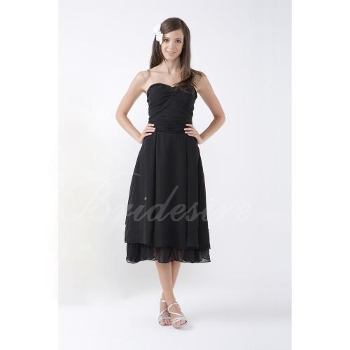A-line Strapless Tea-Length Satin Chiffon Bridesmaid/ Wedding Pa