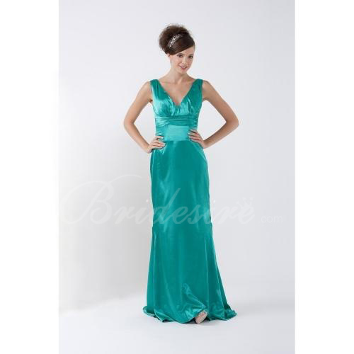 A-line V-neck Sweep Train Elastic Silk-like Satin Bridesmaid/ We
