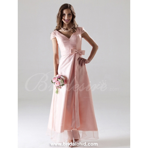 2012 Style A-Line V-neck Tea-length Satin Bridesmaid/ Wedding Pa
