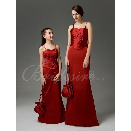 Sheath / Column Sweetheart Floor-length Satin Junior Bridesmaid