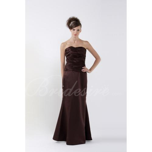 Empire Strapless Floor-length Satin Bridesmaid/ Wedding Party Dr
