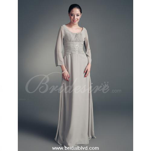 A - line Scoop Floor-length Chiffon Satin Mother of the Bride Dr