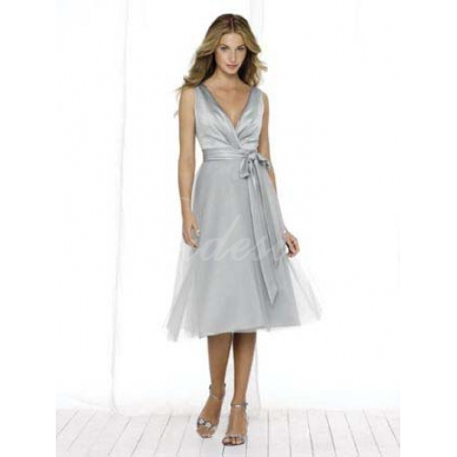 2014 STIL V-Neck Ärmlös Tea-Length Satin Organza Bridesmaid / We