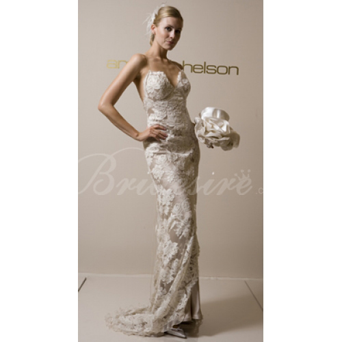Mermaid / Trumpet Strapless Sleeveless Court Train Satin Lace We