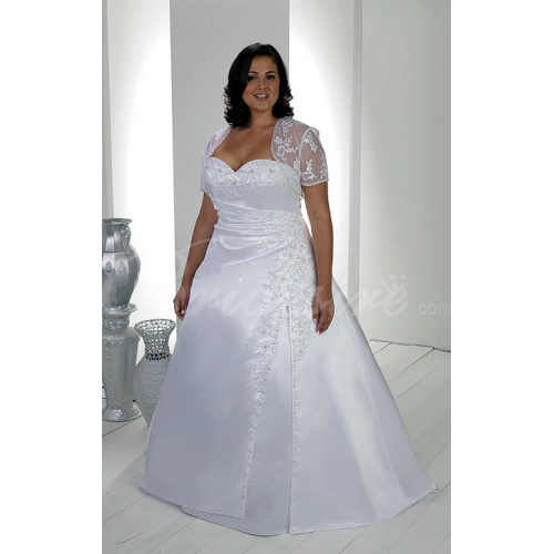 A-line Sweetheart Sleeveless Strapless Chapel Train Satin Plus S