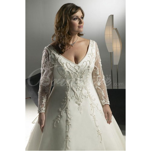 A-line V-Neck Long Sleeves Chapel Train Satin Plus Size Wedding
