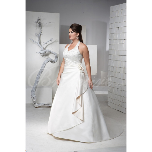 A-Line Halter Court Train Satin Plus Size Wedding Dresses for Br