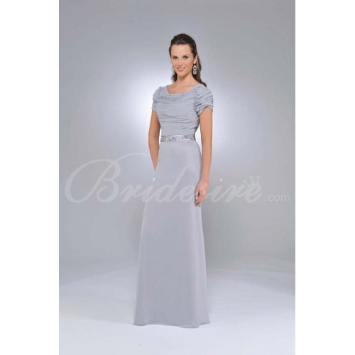 A-line Drape Sleeve Floor-length Chiffon Satin Mother of the Bri