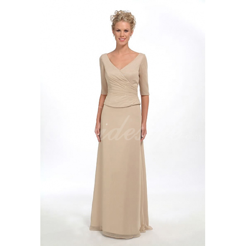 A-line V-neck Floor-length Satin Chiffon Mother of the Bride Dre