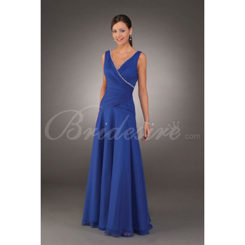 A-line V-neck Sleeveless Floor-length Chiffon Mother of the Brid