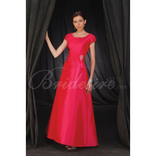 A-line Scoop Neck Short Sleeve Floor-length Taffeta Mother of th