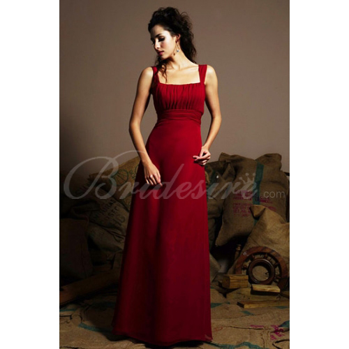 2012 Style Spaghetti Sleeveless Floor-length Chiffon Bridesmaid