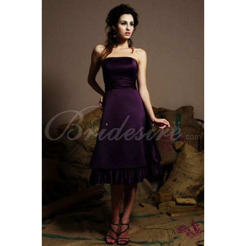 2012 Style Strapless Sleeveless Knee-length Satin Bridesmaid / W
