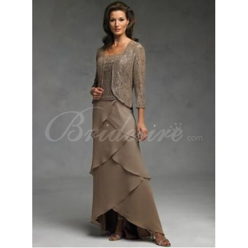 Sheath / Column Tea-length Chiffon Lace Mother of the Bride Dres