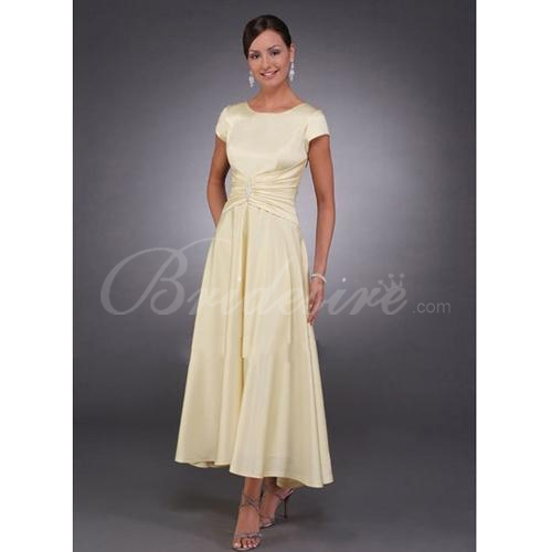 A-line Scoop Tea-length Satin Mother of the Bride Dresses