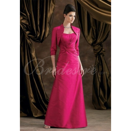 A-line Strapless Sleeveless Floor-length Chiffon Satin Mother of