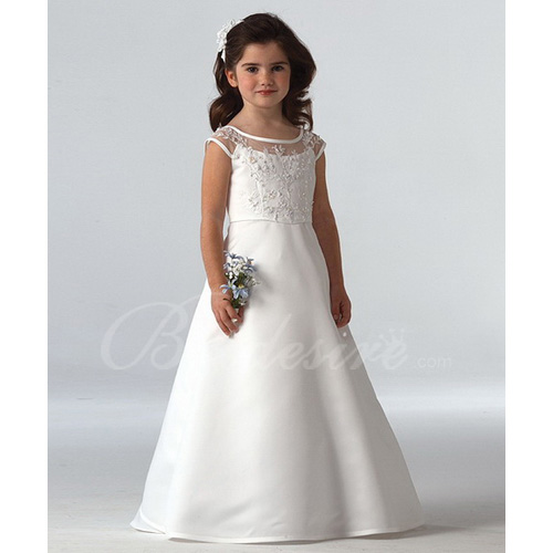 A-line Scoop Sleeveless Floor-length Satin Lace Flower Girl Dres