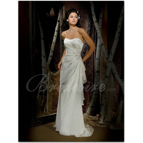 Sheath / Column Strapless Sleeveless Court Train Satin Chiffon W