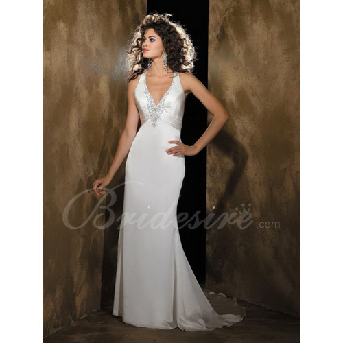 Sheath / Column Halter Sleeveless Court Train Silk Like Satin We