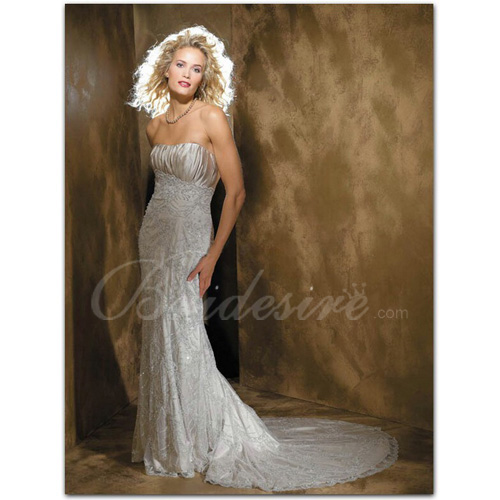 Sheath / Column Strapless Sleeveless Court Train Satin Lace Wedd