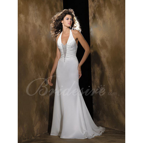 Sheath / Column Halter Sleeveless Court Train Satin Wedding Dres