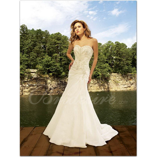 Mermaid / Trumpet Strapless Sleeveless Chapel Train Satin Lace W