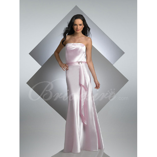 Mermaid Strapless Sleeveless Floor-length Satin Bridesmaid / Wed