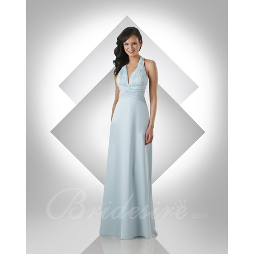 A-line V-Neck Halter Sleeveless Floor-length Chiffon Bridesmaid