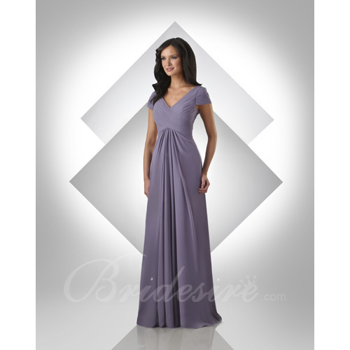 A-line V-Neck Floor-length Chiffon Bridesmaid / Wedding Party Dr