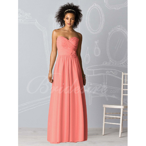 A-line Strapless Sweetheart Sleeveless Floor-length Chiffon Brid